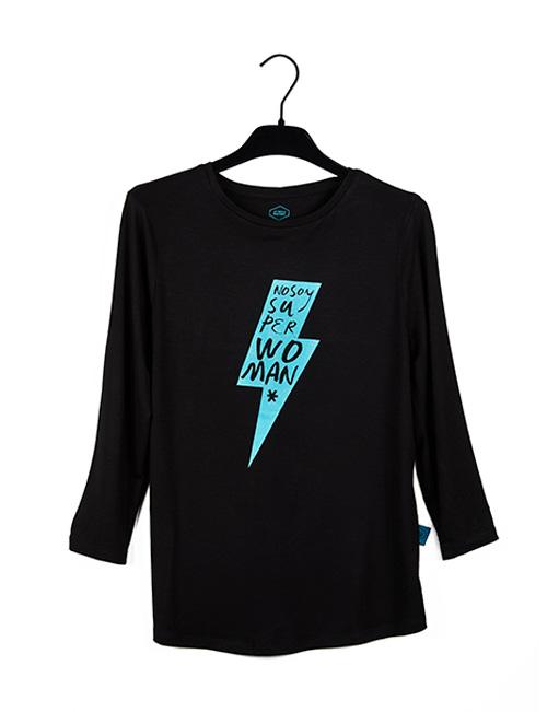 Camiseta Negra con RAYO, color Turquesa purpurina