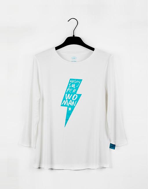 Camiseta Blanca con RAYO, color Turquesa purpurina