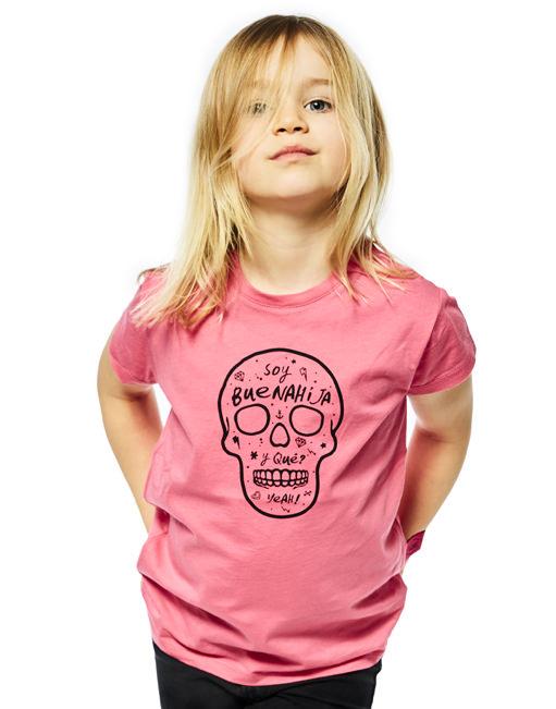 "Camiseta Fucsia ""Soy Buenahija"" Calavera"