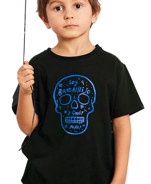 """Camiseta Calavera Azul """"Soy Buenhijo"""""""