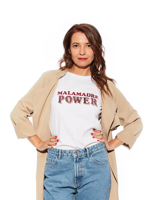 Camiseta blanca 'Malamadre Power'