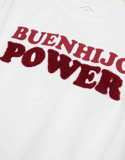 Camiseta blanca 'Buenhijo Power'