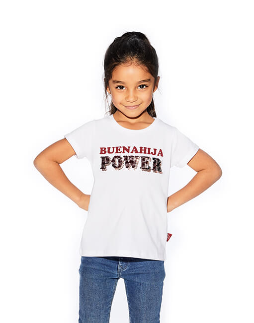 Camiseta blanca 'Buenahija Power'