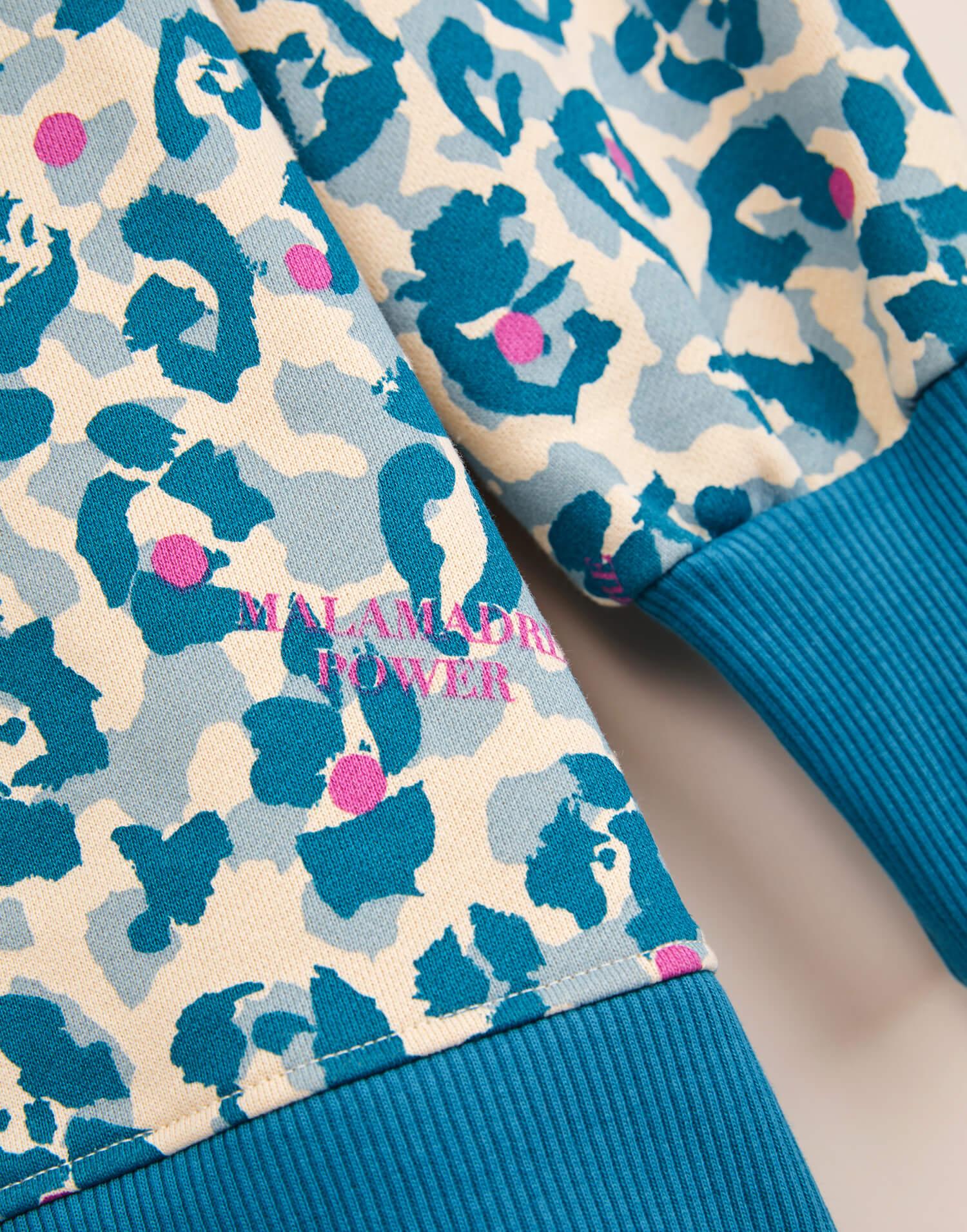 Sudadera azul animal print 'Malamadre Power'