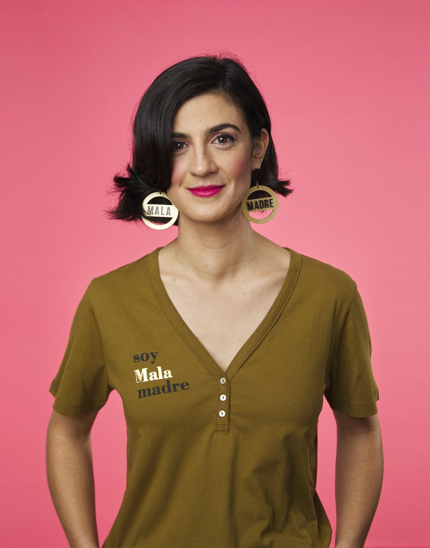 Pendientes 'Soy Malamadre by Papiroga' redondos dorados