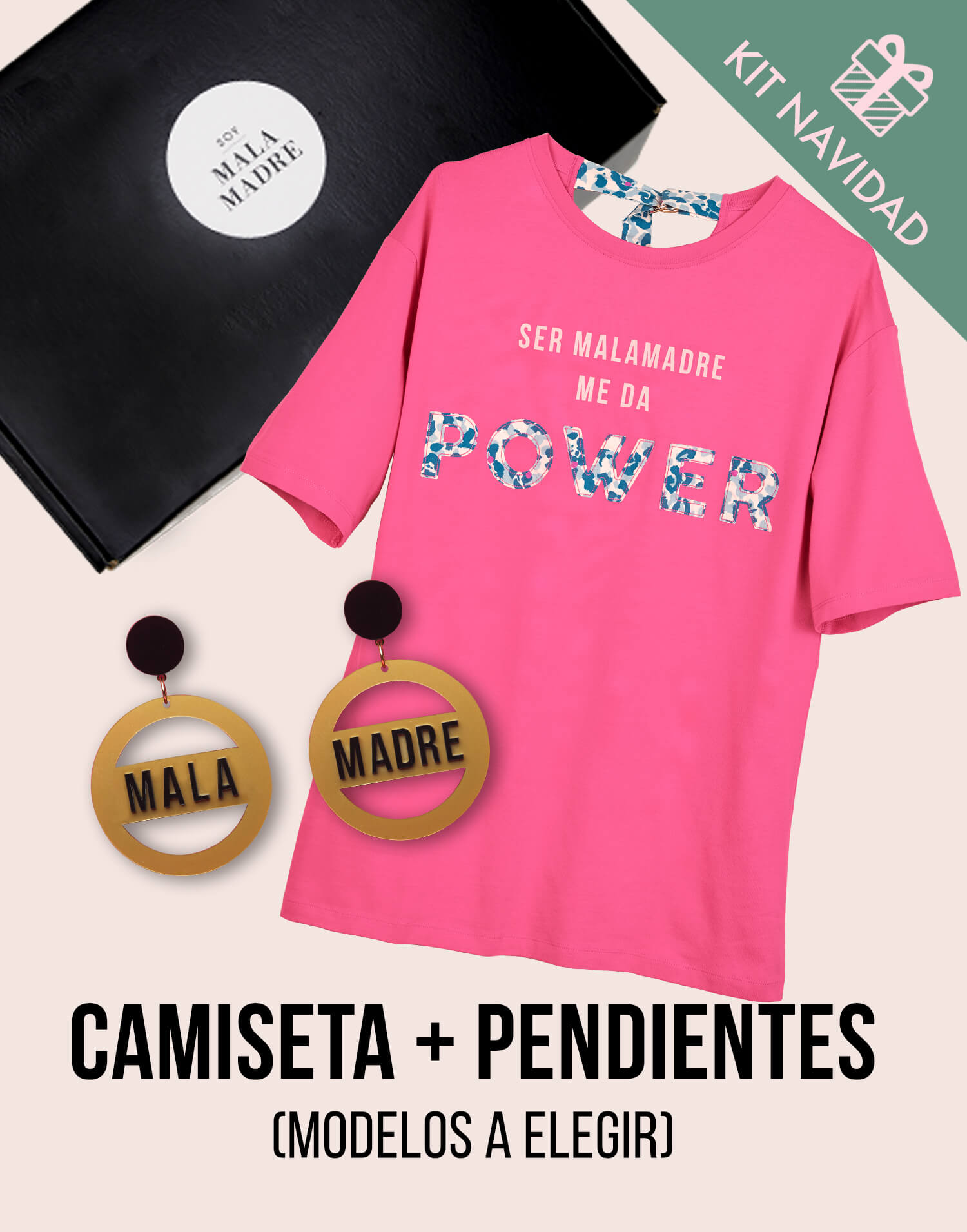 Kit camiseta con pendientes 'Soy Malamadre by Papiroga'