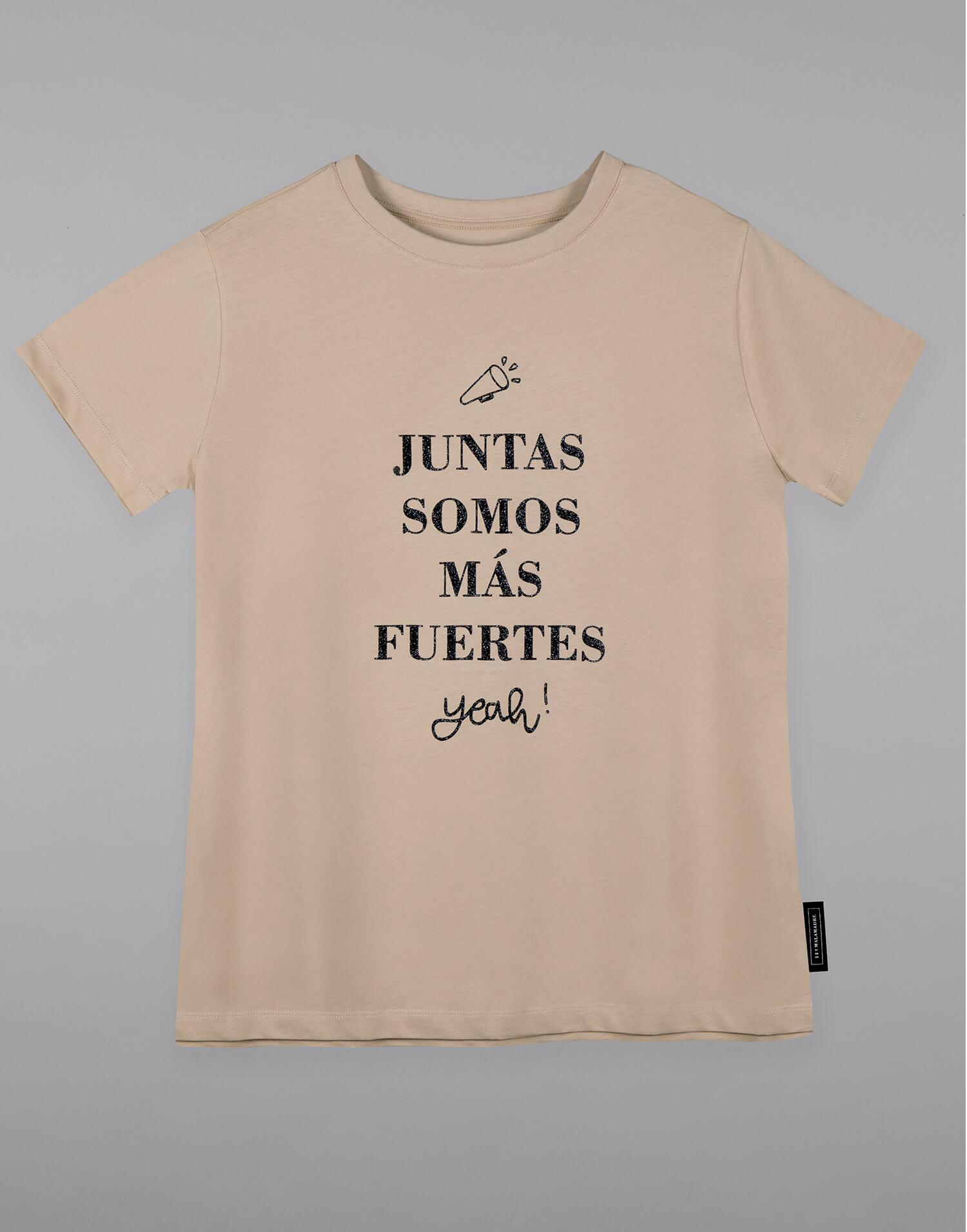 Camiseta de mujer beige 'Juntas somos más fuertes'