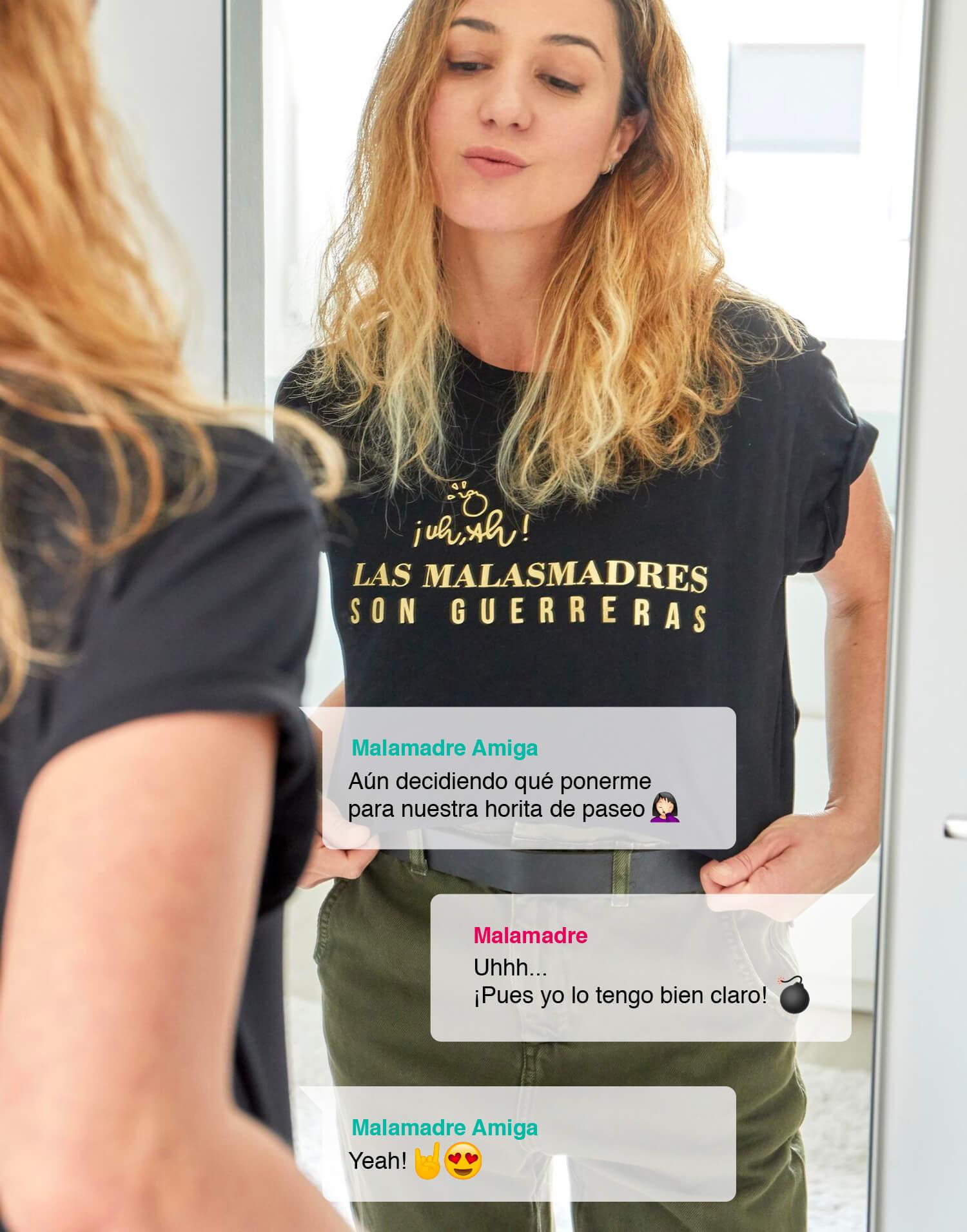 Camiseta de mujer negra '¡Uh, ah! Las Malasmadres son guerreras'