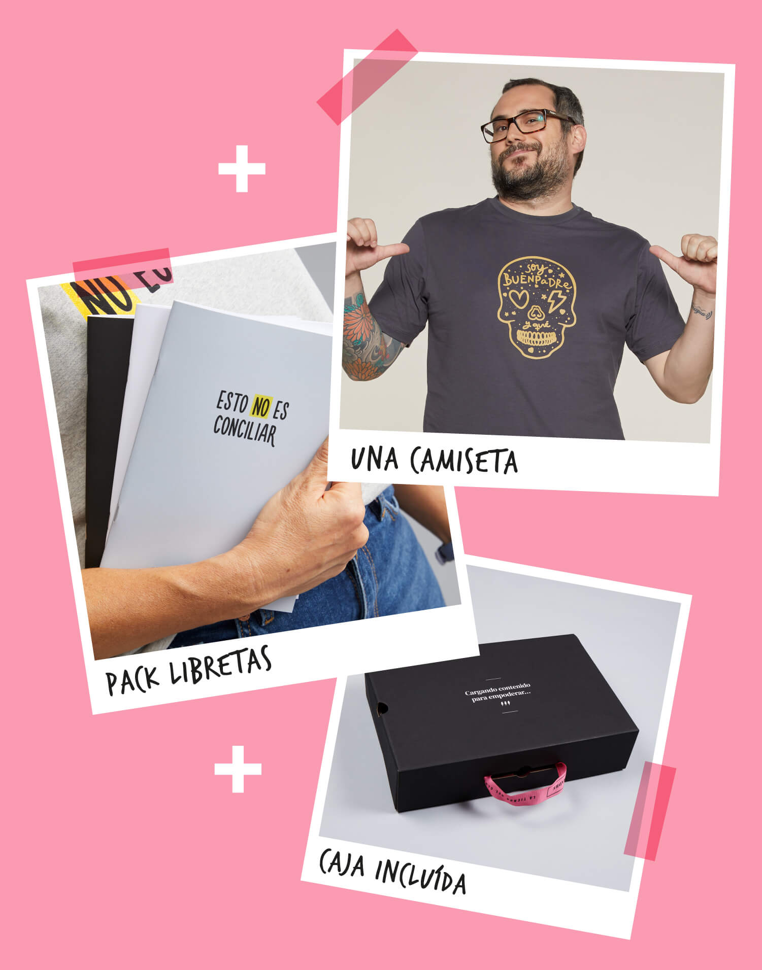 Kit Camiseta + Pack de libretas para los buenospadres que hacen equipo