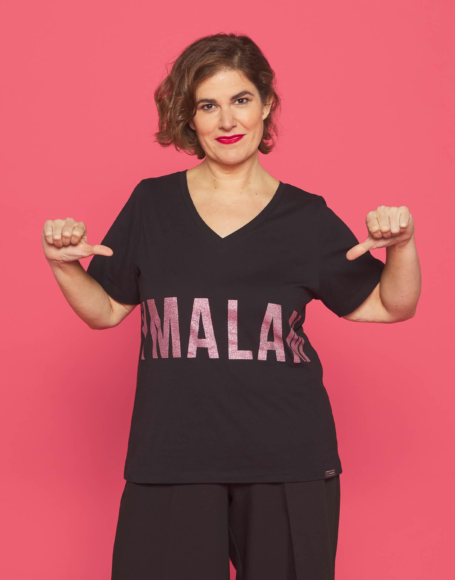"""Camiseta negra pico """"Soy Malamadre"""""""