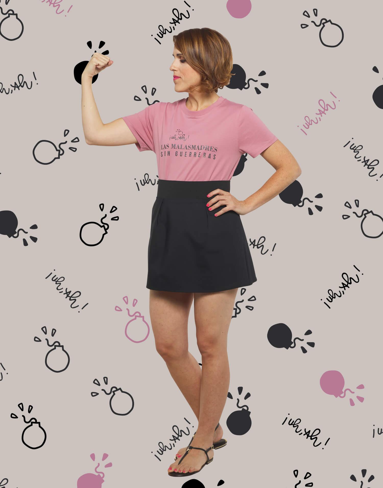 Camiseta rosa Las Malasmadres son guerreras
