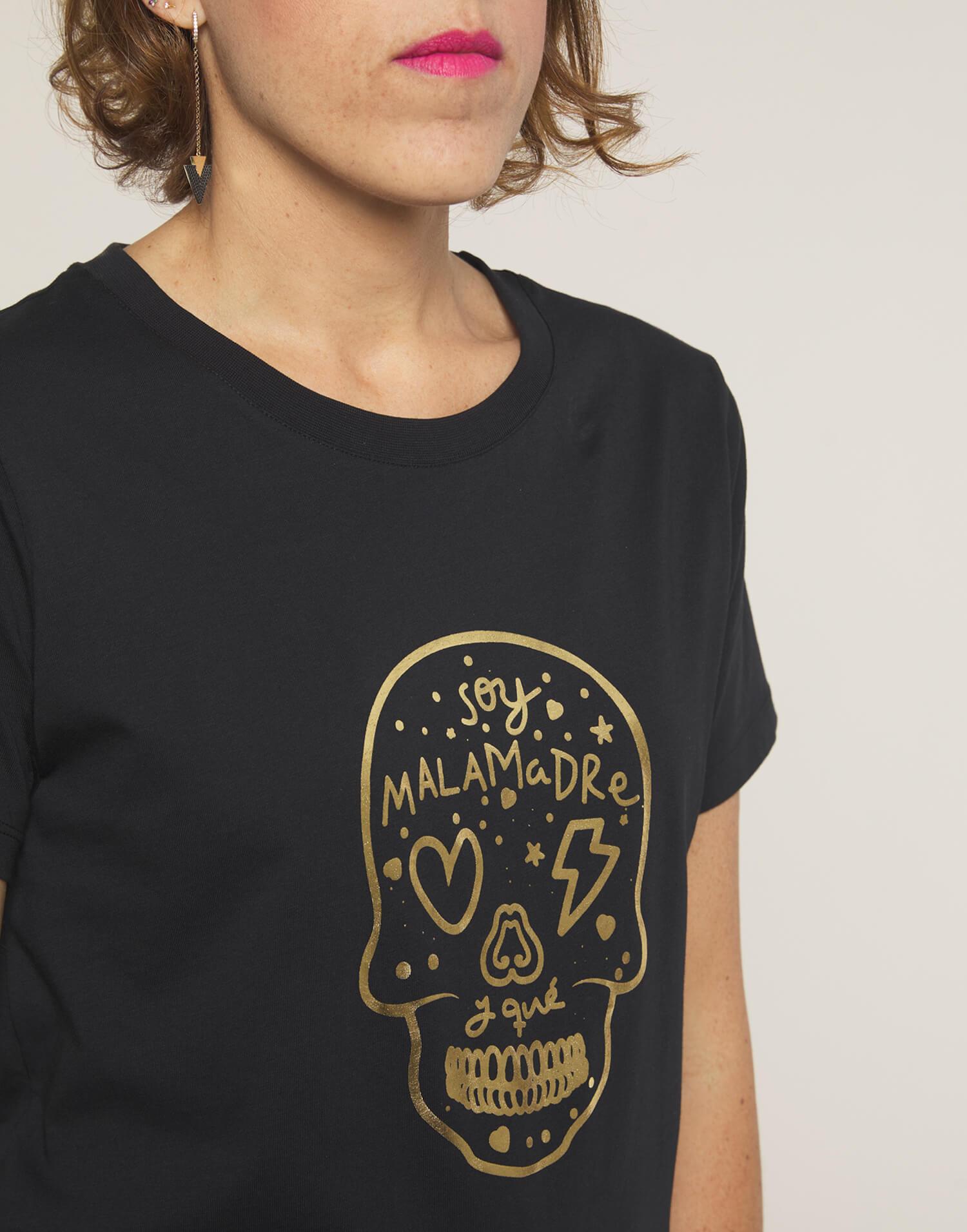 Camiseta calavera dorada
